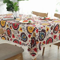 Bringsine Vintage Square Cotton Linen Lace Sun Flower Tablec