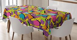 Ambesonne Vintage Tablecloth, Funky Geometric 80s Memphis Fa