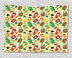 Ambesonne Vintage Tapestry, Foods in Glass Jars on Checked T