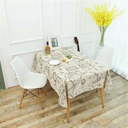 Vintage World Map Dinning Coffee Table Cotton Linens Cloth T