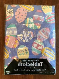 "Vinyl Easter Table Cloth Easter Eggs 52"" X 70"" Oval Flannel"