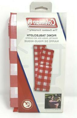 Coleman Vinyl Picnic Tablecloth 54x84 inch Red Checker