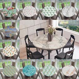 Vinyl Round Tablecloth Waterproof Washable Table Cover Cloth