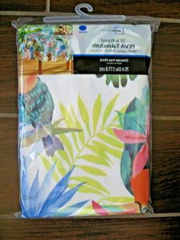 Vinyl Tablecloth Tropical Flowers Leaves Birds Picnic 70 Inc
