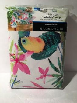 "Vinyl Tablecloth w Flannel Backing 60"" x 84"" Tropical Toucan"