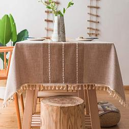 Mokani Washable Cotton Linen Stitching Tassel Design Tablecl