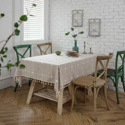 Washable Square Tablecloth Embroidered Tassel Table Cloth Co