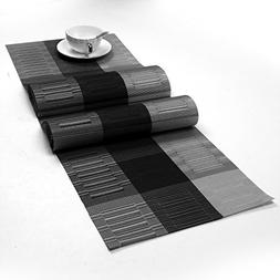SHACOS Washable Woven Vinyl Table Runners for Indoor or Outd