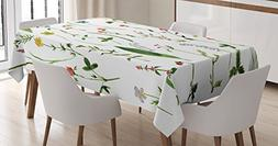 Ambesonne Watercolor Flower Decor Tablecloth, Set of Differe