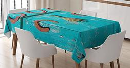 Ambesonne Western Decor Tablecloth by, Five Antique Rusty Lu