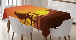 Ambesonne Western Decor Tablecloth, Silhouette of Cowboy in