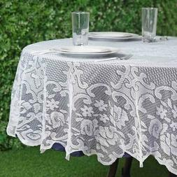 WHITE 70 ROUND Floral LACE TABLECLOTH Wedding Party Catering
