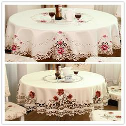 White Embroidered Lace Tablecloth Round Table Cloth Topper W