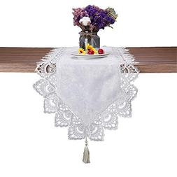 JH tablecloths White Lace Floral Table Runner Wedding Party