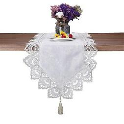 JH tablecloths White lace Floral Table Runner for Wedding Pa