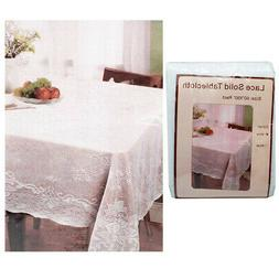 """White Lace Solid Tablecloth 60"""" X 90"""" 100% Polyester Cloth R"""