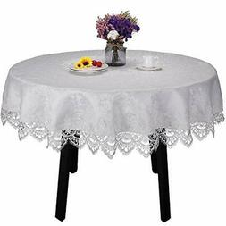 White lace Tablecloth for Round Table Wedding Party Home and