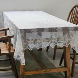 White Snowflake Lace Tablecloth for Xmas Party Wedding Banqu