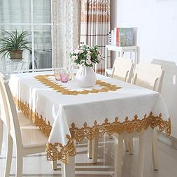 White square tablecloth with gold lace for wedding party hom