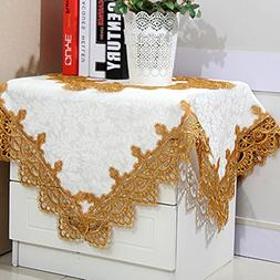 White small square tablecloths with gold lace for side table