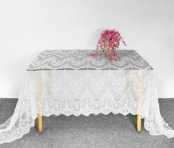 White Vintage Lace Dining Table Cloth Cover Floral Tableclot