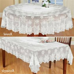 White Vintage Lace Dining Table Cloth Cover Christmas Tablec