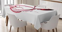 Wine Tablecloth by Ambesonne, Heart with Spilling Red Wine i