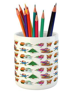 Ambesonne Winter Pencil Pen Holder, Kids in Winter Clothes B