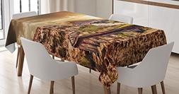 Ambesonne Wizard Tablecloth, Hogwart Express Famous Train La
