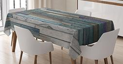 Wooden Tablecloth by Ambesonne, Blue Grey Grunge Rustic Plan