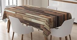 Ambesonne Wooden Tablecloth, Brown Old Hardwood Floor Plank