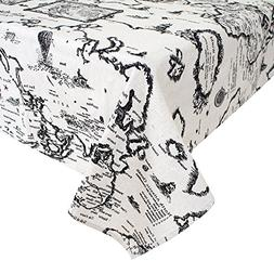 USTIDE World Map Rectangular Tablecloth Cotton and Linen Tab