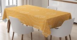 Yellow Mandala Tablecloth by Ambesonne, Delicate Paisley Fig