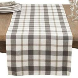 SARO LIFESTYLE Yuri Collection Plaid Design Cotton Table Run