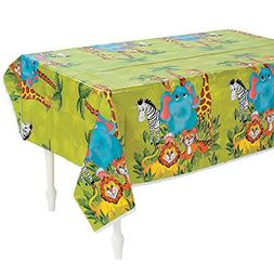 Fun Express Zoo Animal Party Plastic Tablecloth - 108 x 54 i